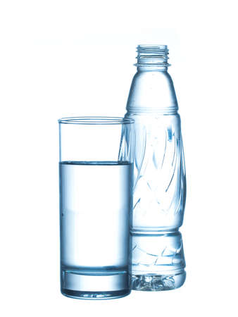 glas water: plastic bottle and glass water isolated on white background