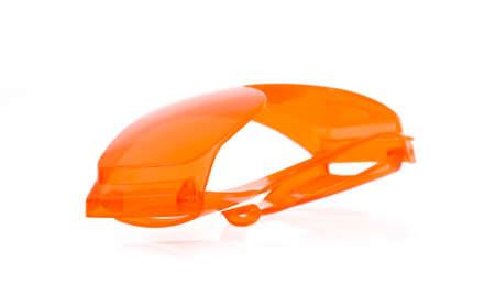 myopic: orange glasses isolated on white background.