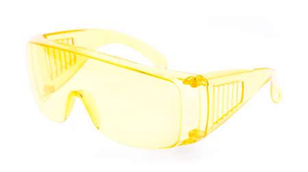 myopic: yellow glasses isolated on white background. Stock Photo