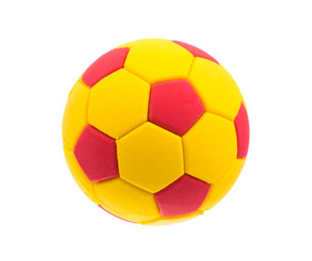 ball isolated: Ball toy red and yellow isolated on white background Stock Photo
