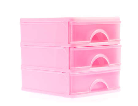 drawers: plastic drawers isolated on white background Stock Photo