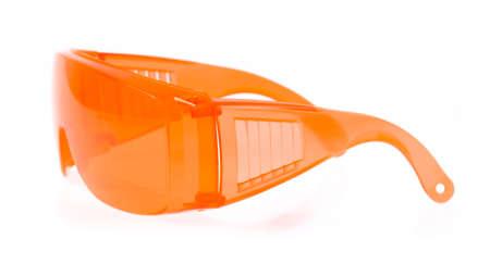 eyestrain: orange glasses isolated on white background.