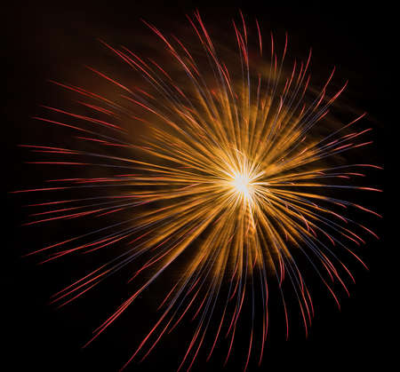 escalate: Colorful fireworks on the black sky background Stock Photo