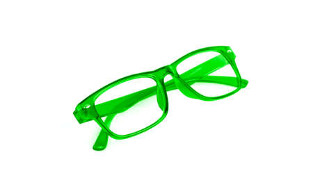 green eye: Green Eye Glasses Isolated on White background