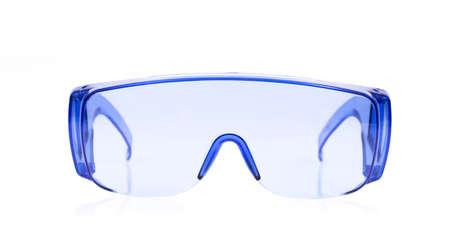 myopic: blue glasses isolated on white background.