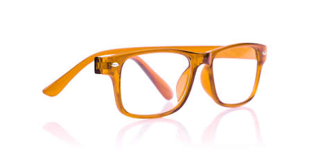 blinkers: Orange Eye Glasses Isolated on White background