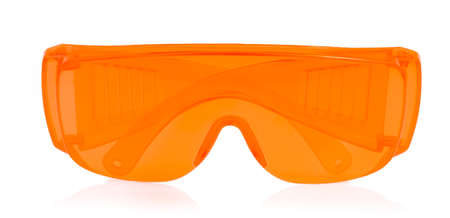 shortsightedness: orange glasses isolated on white background.