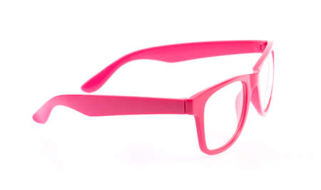 myopic: pink glasses isolated on a white background.