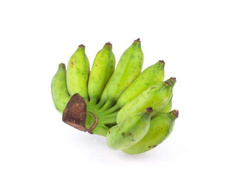 musa: Bunches of Musa sapientum or Cultivated Banana isolated on white background Stock Photo