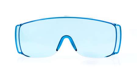 eyestrain: blue glasses isolated on white background.
