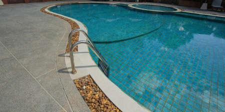 pool bars: Grab bars ladder in the swimming pool at hotel