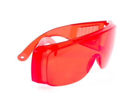 myopic: red glasses isolated on white background.
