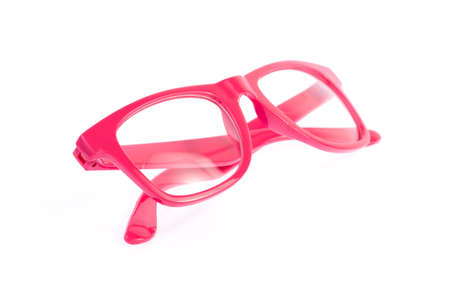 shortsightedness: pink glasses isolated on a white background.