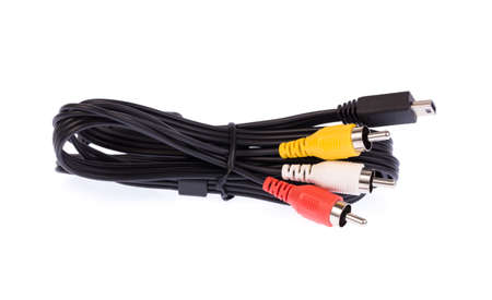 rca: Several cables with RCA connectors for audio and video isolated on white background. Stock Photo