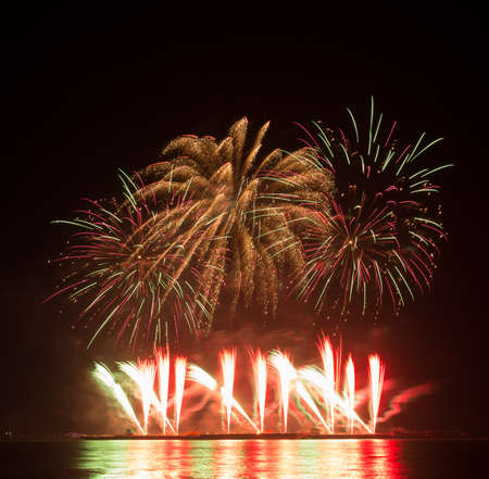 beautiful of exploding fireworks at night. Represents a celebration. Stock Photo