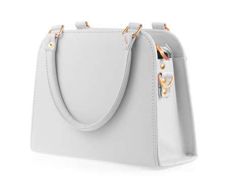 capacious: Grey women bag isolated on white background