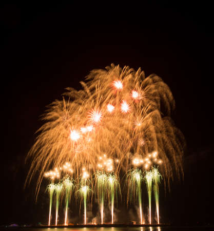 represents: beautiful of exploding fireworks at night. Represents a celebration. Stock Photo