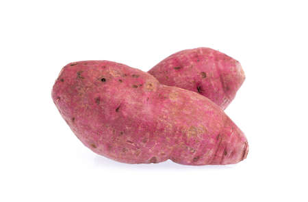 starchy food: Fresh purple yams isolated on a white background.