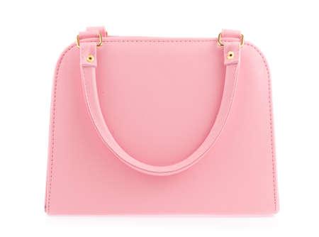흰색 배경에 고립 된 핑크 여성 가방