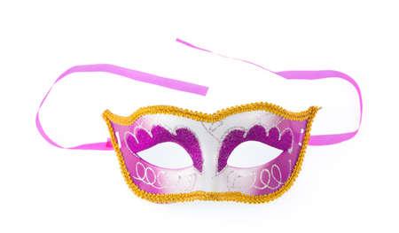 guise: Purple Carnival mask isolated on white background Stock Photo