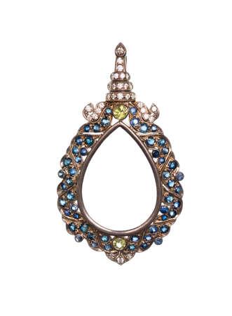 gemstones: pendant with gemstones isolated on white background