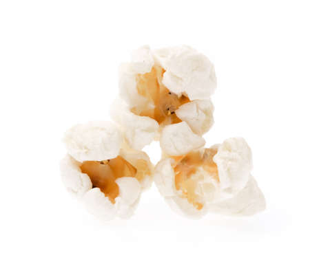 fresh pop corn: Pop corn pile isolated on white background.