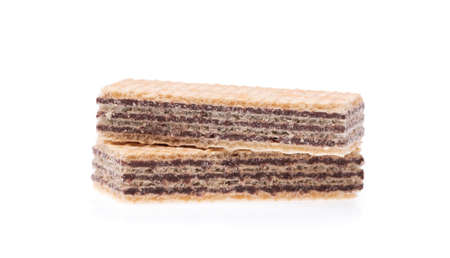 filled: chocolate waffles isolated on white background