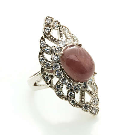 Moonstone ring on white background