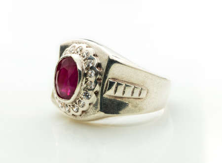 pink Ruby Ring on white background Stock Photo
