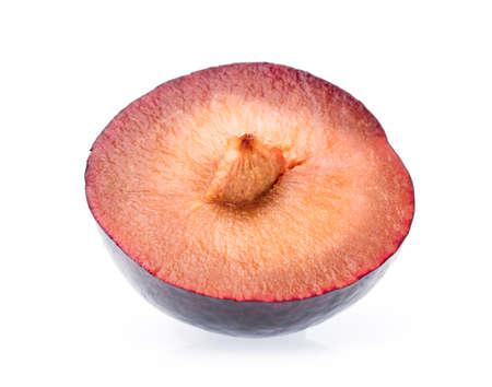 slice plum isolated on white background Stock Photo
