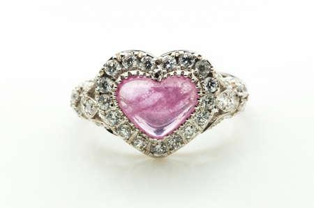 platinum: pink Ruby Ring on white background Stock Photo