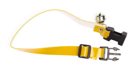 A yellow dog collar isolated on a white background