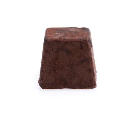 chocolate truffles against isolated on white background Stock Photo