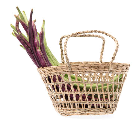 vigna: basket wicker of yardlong bean isolated on white background