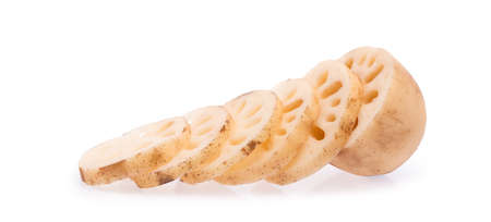 slice of Lotus root isolated on white background Stock Photo