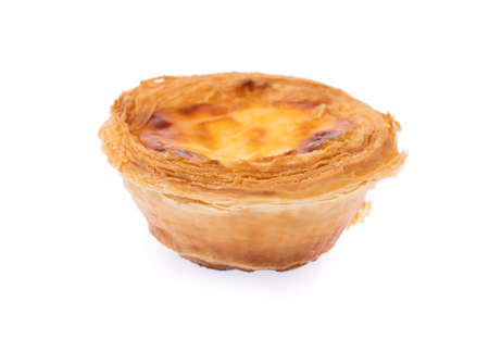 one egg tart sweet custard pie isolated on white background