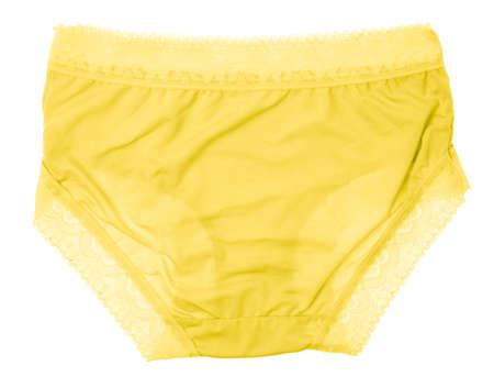 Beautiful female panties yellow isolated on white background. Sexy underwear Archivio Fotografico