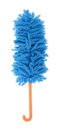 Blue duster microfiber for cleaning the house isolated on white background