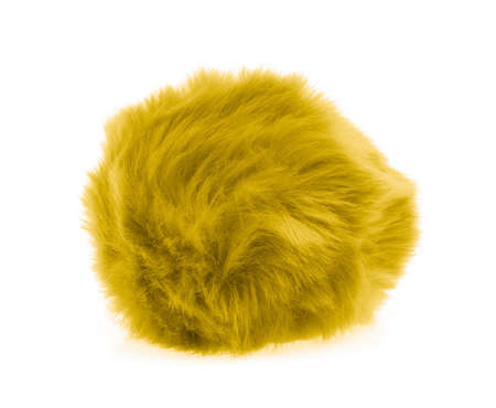 Yellow Fur ball isolated on white background