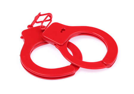 Red Handcuffs isolated on white background