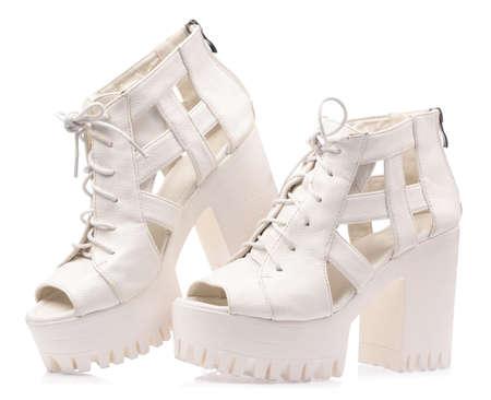 White heel sandal isolated on white background