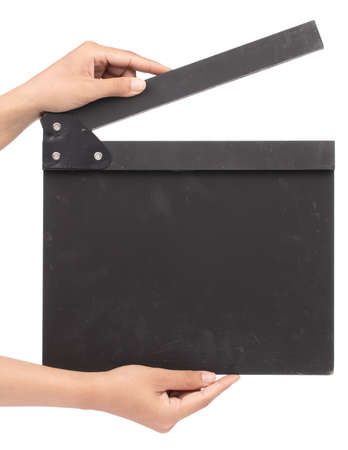 Cinema clapboard in hands isolated on a white background