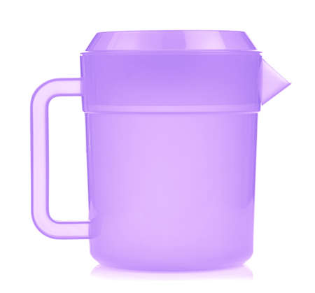 purple plastic pitcher isolated on white background Standard-Bild