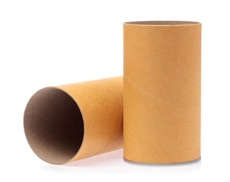 can box craft brown tube packaging isolated on white background Stock Photo