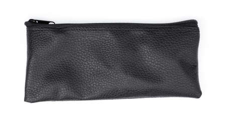 black leather wallet isolated on white background Stock Photo
