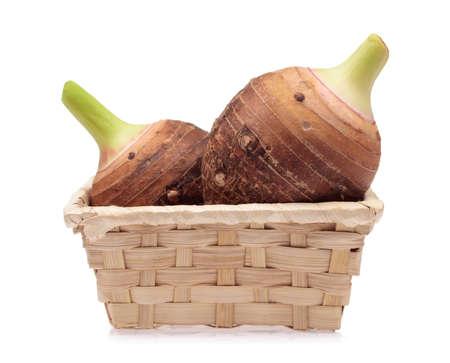 basket of taro isolated on white background