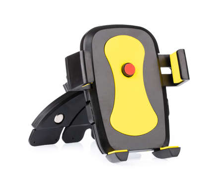 Yellow of Car holder for smartphone isolated on a white background. Imagens