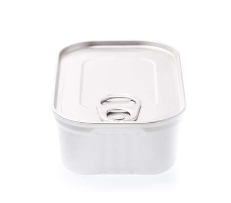 Aluminum,canned food isolated on white background