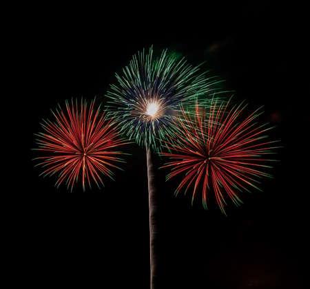 beautiful of exploding fireworks at night. Represents a celebration. Фото со стока