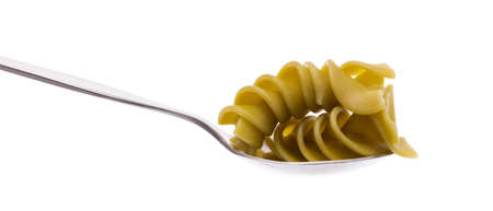 spoon of pasta isolated on white background